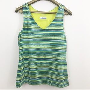 Columbia Striped V Neck Sleeveless Tank Top
